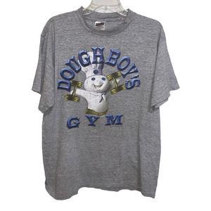 Vintage Pillsbury DOUGHBOYS GYM T Shirt 1996 Flaws Funny Graphic Tultex XL